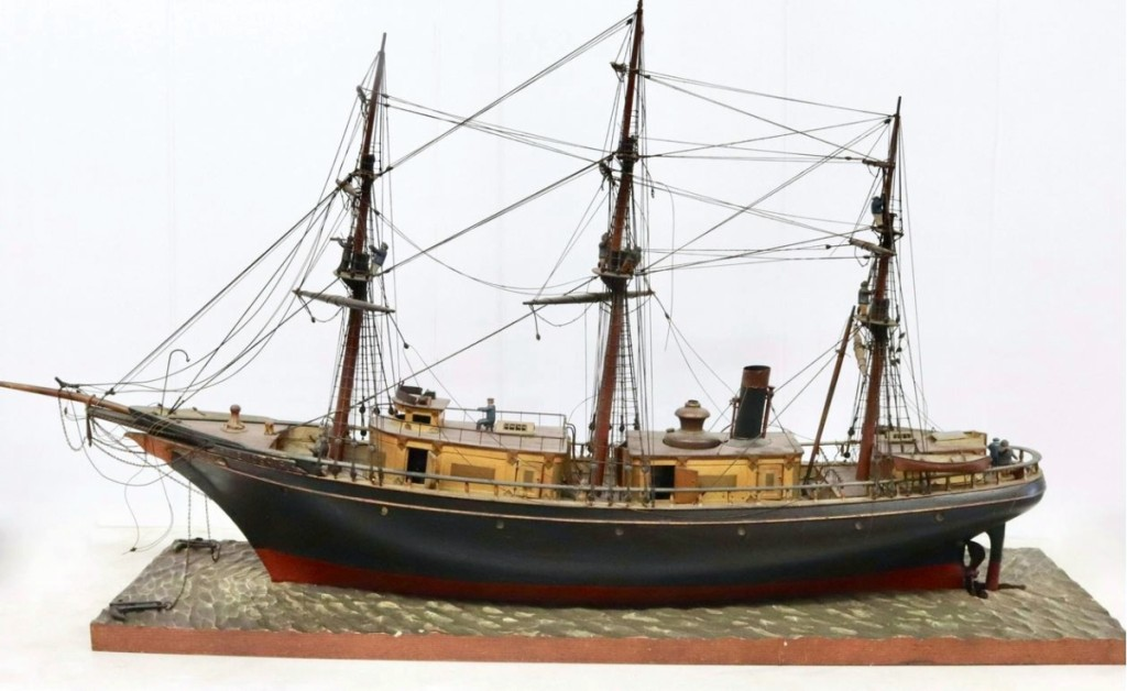 This handmade folk art steamship model Friendship was presented to the Friendship Fire Company #1 of Harrisburg, Penn., by the Friendship Fire Company #1 of Wilmington, Del., on March 16 1882. It sold for $5,412.