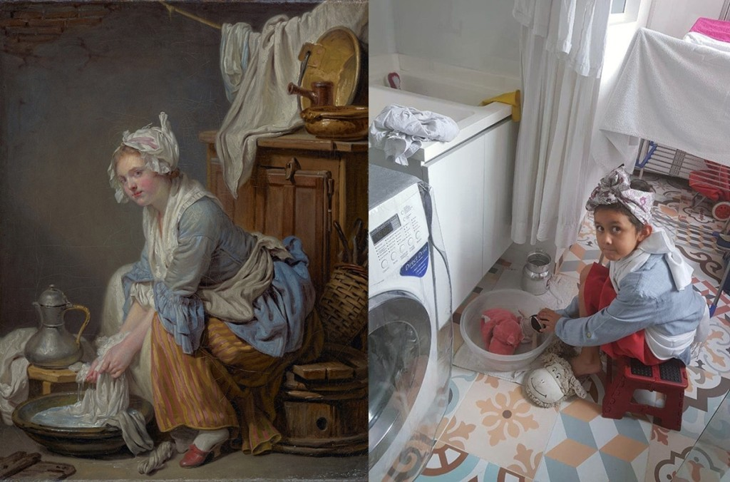 """The Laundress (La Blanchisseuse),"" 1761, Jean-Baptiste Greuze. Oil on canvas, 16 by 13 inches. The J. Paul Getty Museum. Recreation on Instagram by Elizabeth Ariza and family in modern-day laundry room."