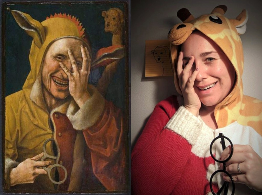 """Laughing Fool,"" circa 1500, attributed to Jacob Cornelisz van Oostsanen. Oil on panel, 13 -/8 by 9-  inches. Image: Davis Museum at Wellesley College. Recreation via Facebook DM by Tiffanie Pierini Ho with giraffe onesie, Christmas sweater, and post-it."