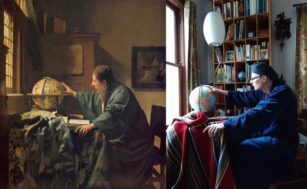 """The Astronomer,"" 1668, Johannes Vermeer. Oil on canvas, 19.6 by 17.7 inches. Musée du Louvre, Paris. Image: Wikimedia Commons. Recreation on Twitter and via Facebook DM by Ann Zumhagen-Krause and her husband with tray table, blanket and globe."