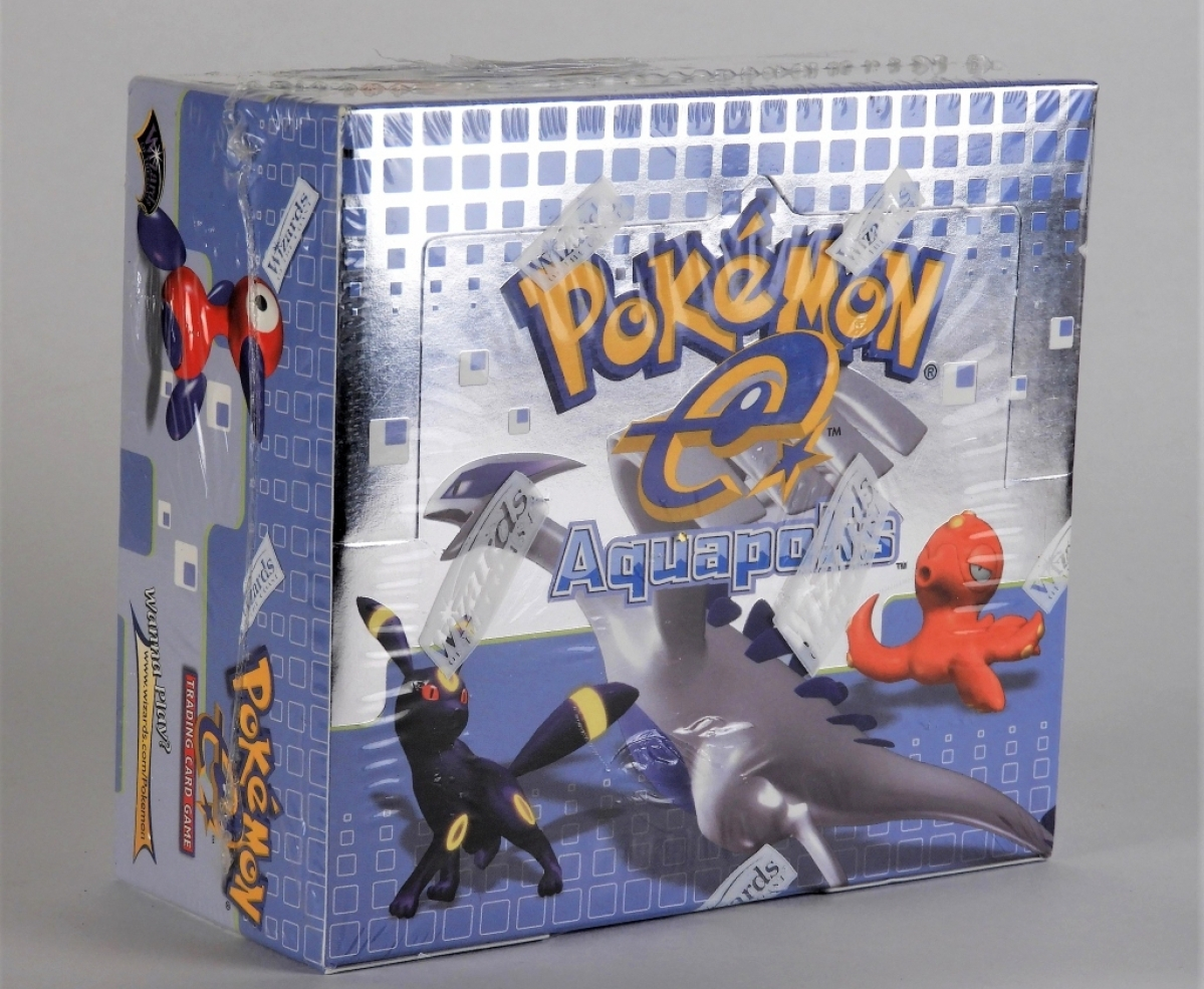 Leading the sale was this 2003 Pokémon Aquapolis factory sealed booster box that sold for $14,375.