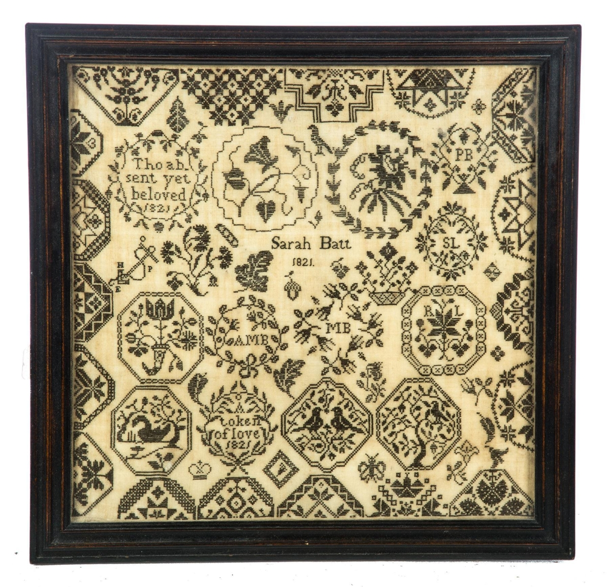 """""""I thought this would do well but I didn't think it would do that well,"""" Jeffers said of this framed motif sampler by Sarah Batt that sold for $4,063, the highest price in the sale. An American trade buyer acquired the English piece, which was dated 1821, worked in black petit point stitching on linen and featured medallions with flowers, birds, geometric patterns, verses and an anchor ($250/450)."""