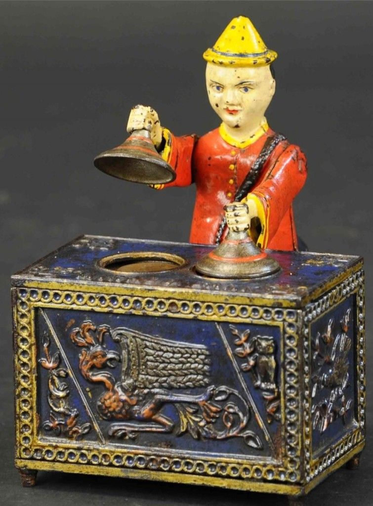 Leading the sale at $45,600 was this Mikado cast iron mechanical bank produced by Kyser & Rex. The bank is in the blue table variant and in nearly all original condition.