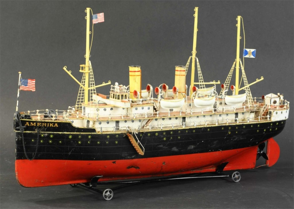 Catching $26,400 was this Marklin live steam Amerika ocean liner, 28 inches long, from the Schaut collection. It had twin funnels, three masts and six life boats.
