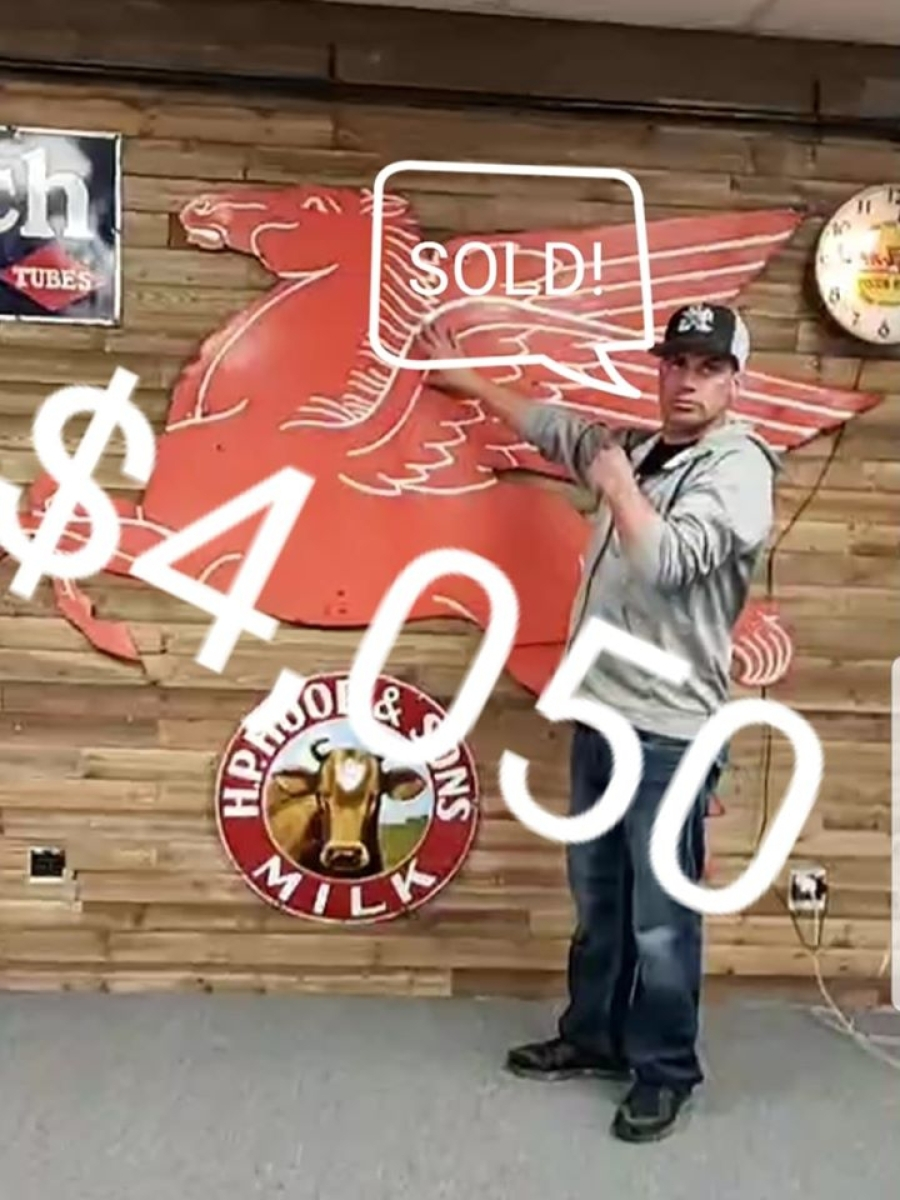 Michael Lord, administrator for Brimfield Online, posted this photo of a large Pegasus sign that Red Hot Relics LLC, Elmwood Park, N.J., sold for $4,050.   —Facebook, Brimfield Online
