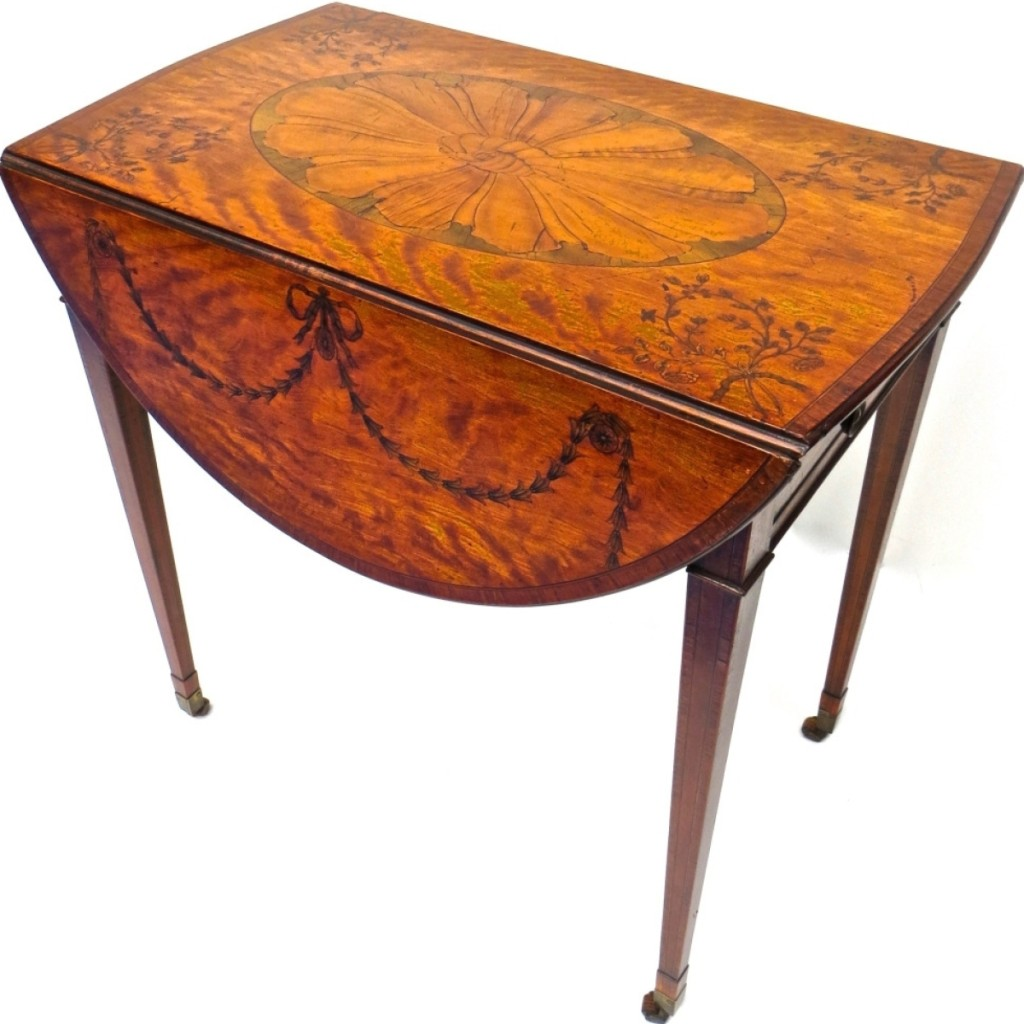 Clive Devenish Antiques was offering this George III marquetry inlaid Pembroke table attributed to Mayhew and Ince. The table had previously been sold at Christie's, New York, January 24, 2001, Lot #553. The table had not been sold by the time the show closed. Incline Village, Nev.