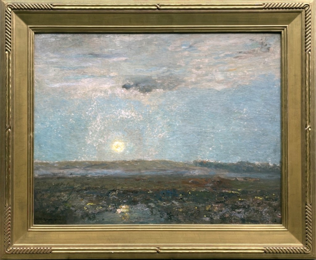 """""""Moonrise"""" by Henry Ward Ranger was offered by The Cooley Gallery, Old Lyme, Conn. Circa 1910, the oil on canvas measures 28 by 36 inches. Ranger was the leader of the Old Lyme Art Colony."""