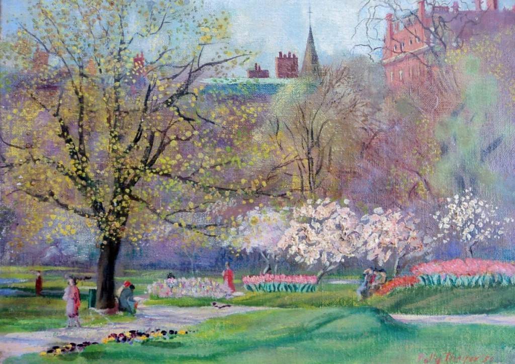 """One of the works sold by Donna Kmetz was this painting by J. Polly Thayer Starr (1904-2006) titled """"Boston Public Garden,"""" done in oil on board measuring 9 by 12 inches. David & Donna Kmetz American Paintings, Douglas, Mass."""