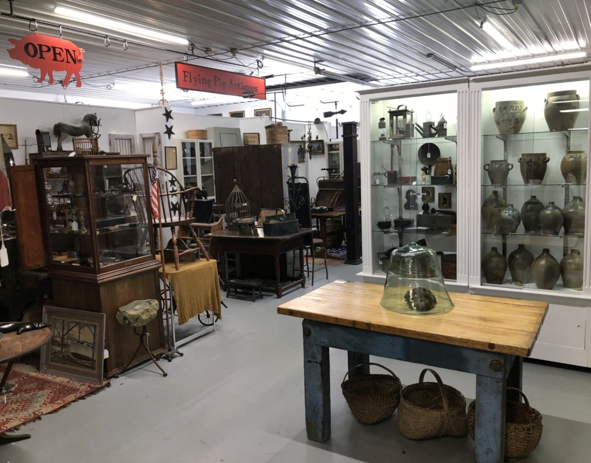 Flying Pig Antiques in Westmoreland, N.H., opened Friday, May 22, and will resume normal hours as it opens seven days a week.