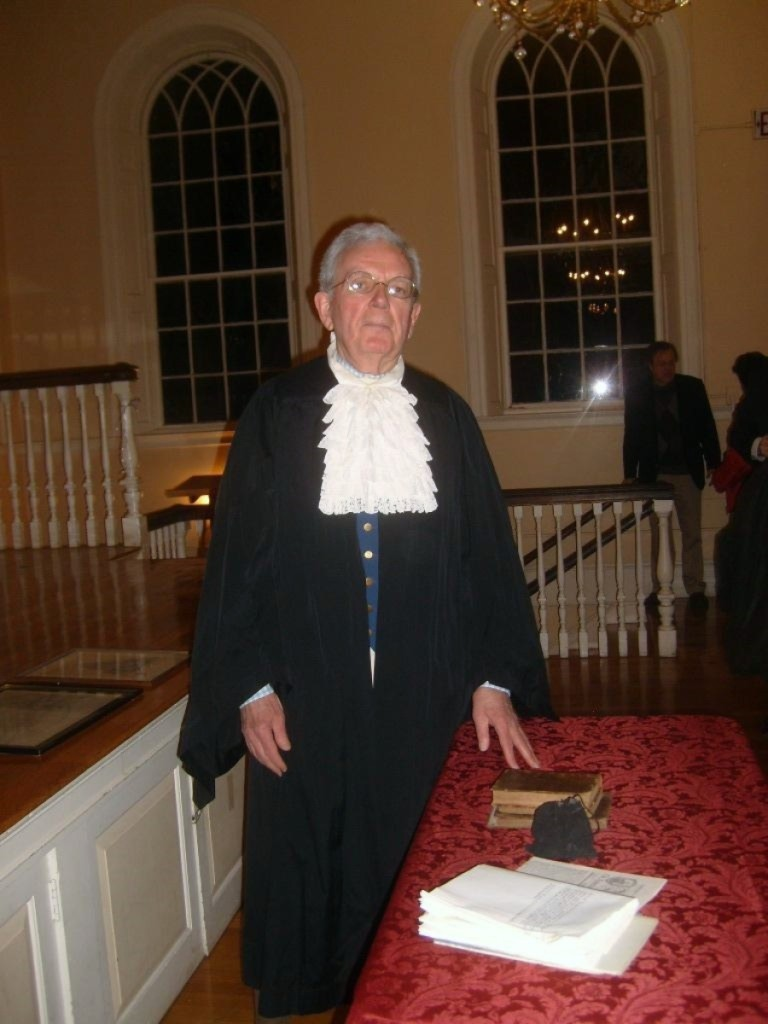 Donald Friary in his costume as William Bentley, 2012,   Photo courtesy the Salem Gazette.