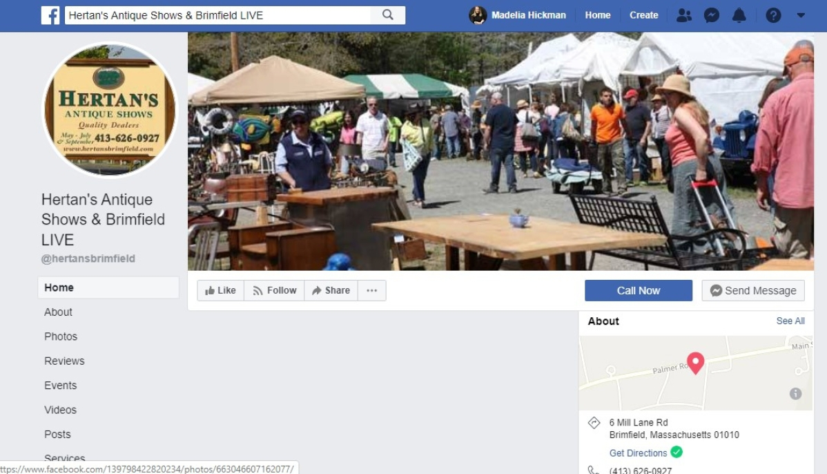 At 5:31 am on Tuesday, May 12, the Hertan's Antique Shows & Brimfield Live page began posting videos, still photos, posts etc., for dealers. Additional fields were rolled out online in the order they usually open.