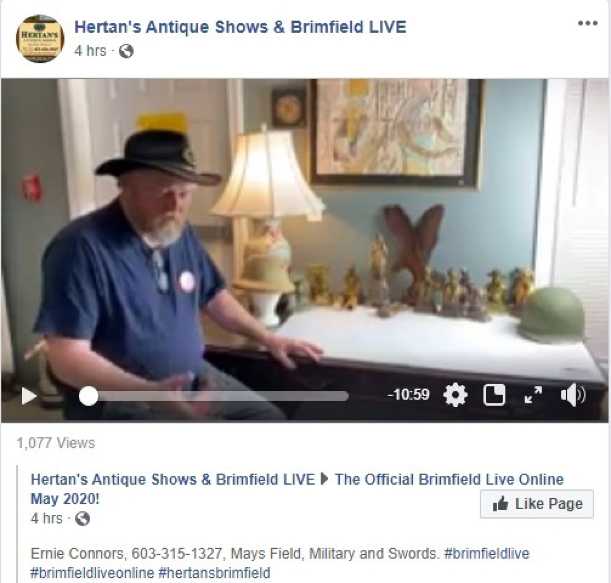 Ernie Connors, speaking from New Hampshire, gave a video walkthrough of things he has been collecting over the years. Items included a Civil War flask ($100); a pith helmet made in India ($75); a World War II helmet ($50); a Civil War sword with engraved blade ($500); and a Civil War naval sword, signed PDL and imported for Tiffany & Co. ($850).   —Facebook, Brimfield Live
