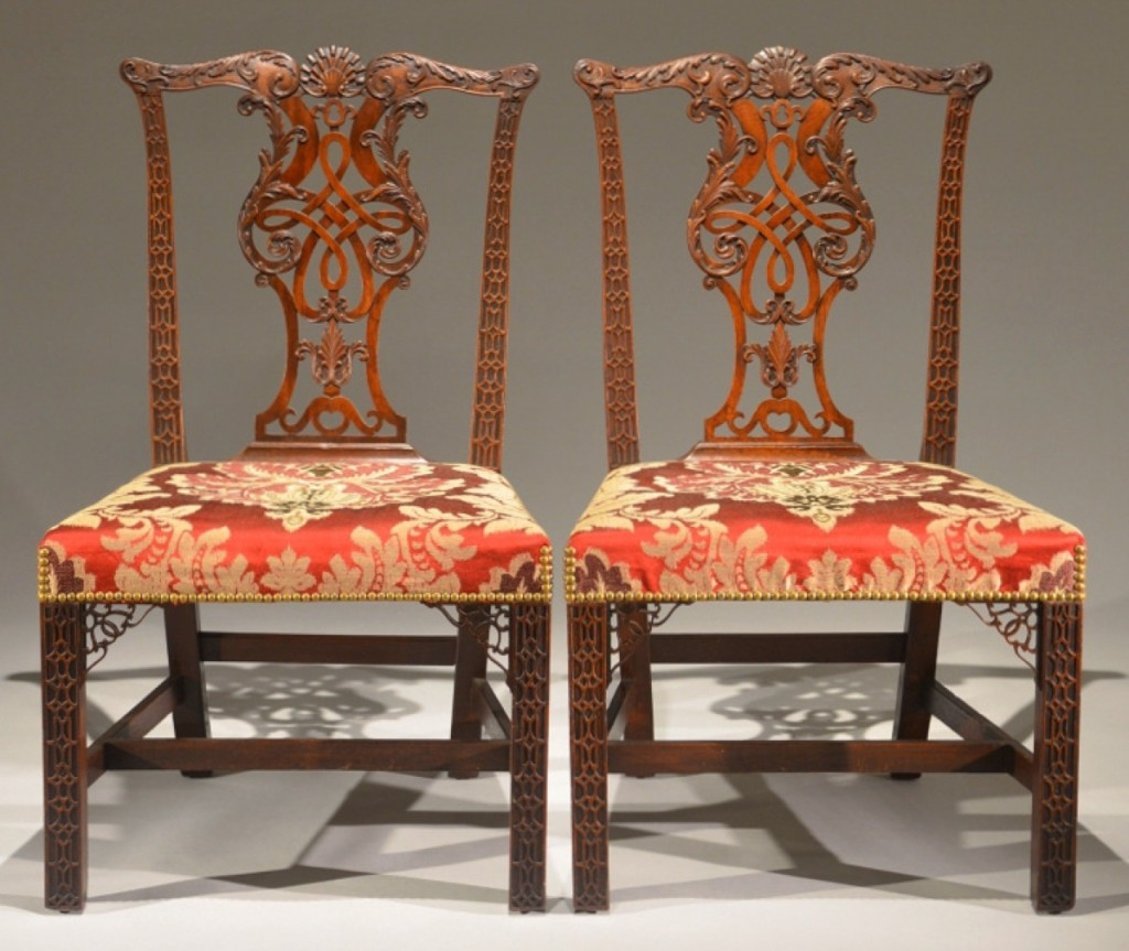 Wells, Maine, dealer R. Jorgensen offered a stunning pair of matched mahogany Chippendale side chairs with carved backs, blind-fretting on the legs with pierced brackets at the corners. They were mid-Eighteenth Century and English. An identical chair from the Earl Howe of Penn House, Amersham Buckinghamshire, U.K., is illustrated in Hinckley's Metropolitan Furniture of the Georgian Years.