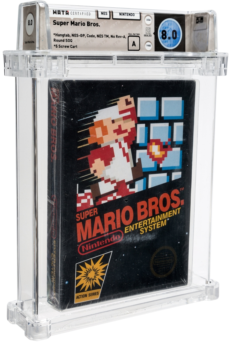 This 1985 Super Mario Bros. NES Nintendo game was sealed and Wata graded 8.0 A. It sold for a $40,200 record price less than a month ago in Heritage Auctions' Comics sale. It came with its original cardboard hangtab as if it was just plucked off the peg board.