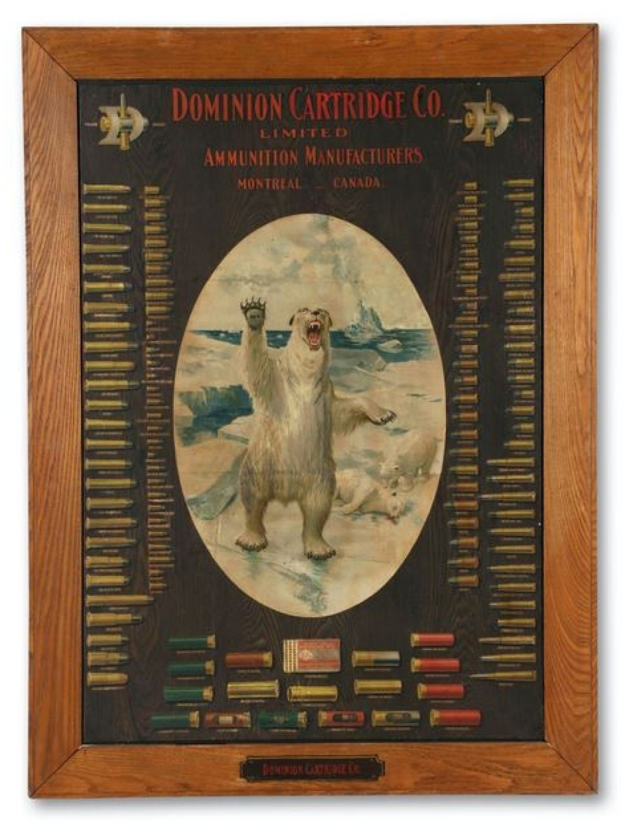 This 1930s board lithograph for Montreal-based Dominion Cartridge Co illustrates the company's catalog of ammunition. The piece sold for $3,195 and led the sale. The blunt image is a remarkably sad one, with a polar bear parent standing up after its cub was killed and lays motionless in the background. The cub's sibling bends down to check on it.