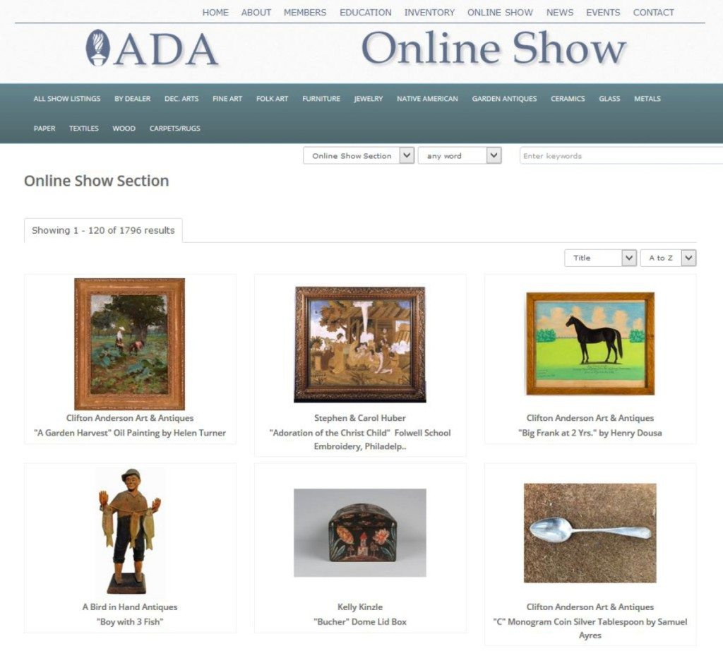 The ADA Online Show certainly looked different than a regular antiques show, but the quality of merchandise was the same as always from the ADA dealers.