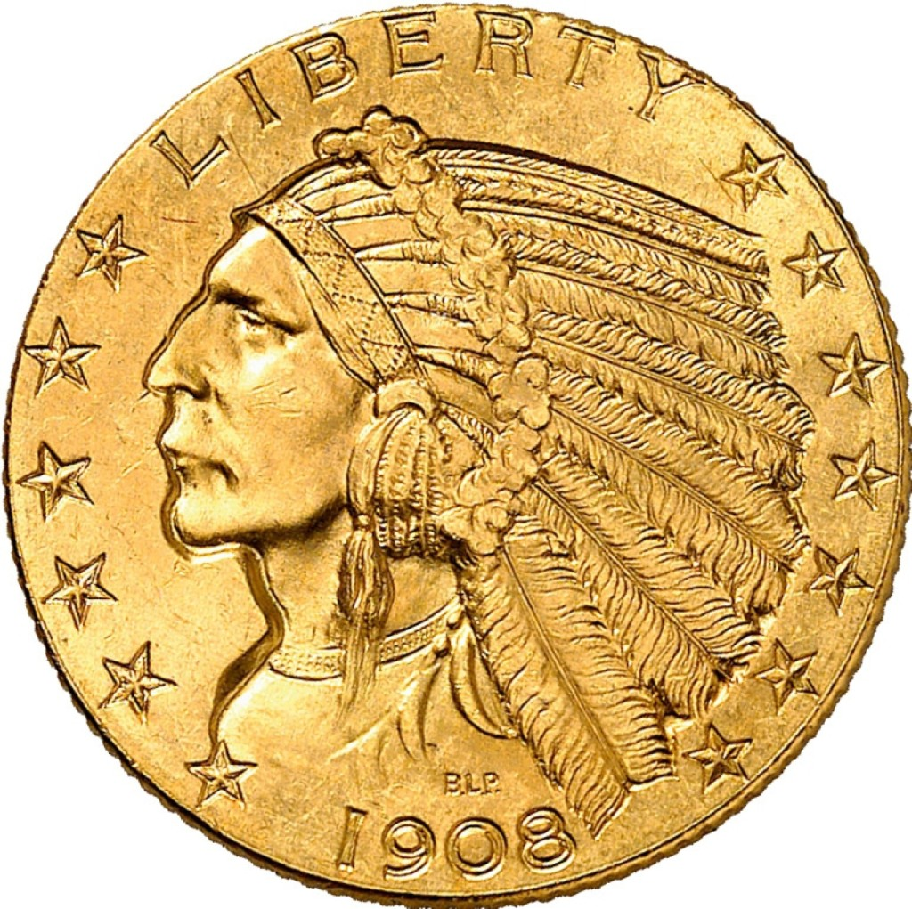 United States, $5 gold coin, Indian Head,   struck from 1908 to 1929.