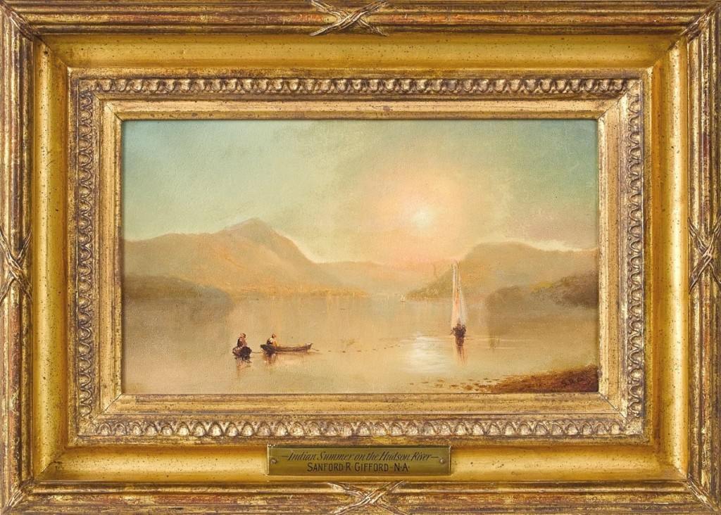"""The first lot of the sale was """"Indian Summer on the Hudson River"""" by Sanford Gifford (American, 1823-1880), had diminutive proportions — approximately 7 by 12 inches — and a strong estimate, but it hit the target, bringing $20,740 from a private collector ($20/30,000)."""
