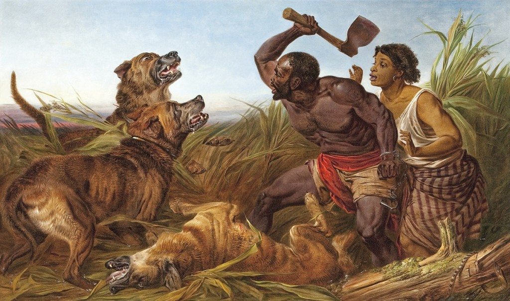"""The Hunted Slaves"" by Richard Ansdell, 1862. Oil paint on canvas, 36 by 60 inches. Collection of the Smithsonian National Museum of African American History and Culture."