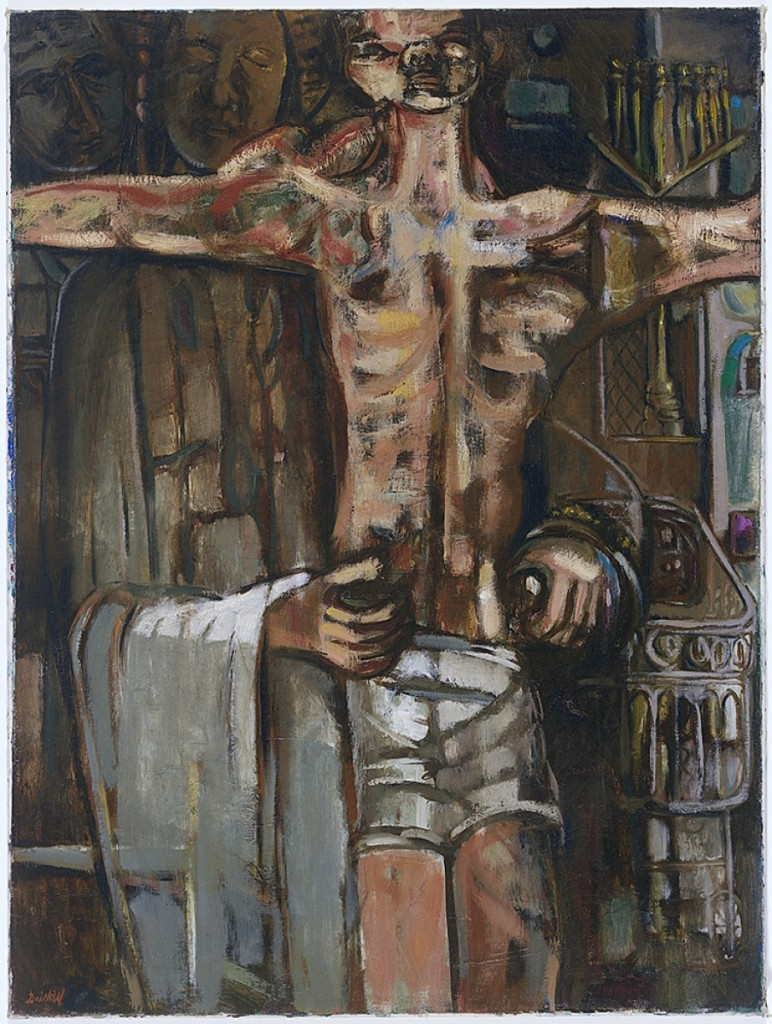 """Behold Thy Son"" by David C. Driskell, 1956. Oil on canvas, 40 by 30 inches. Collection of the Smithsonian National Museum of African American History and Culture, © The Estate of David C. Driskell. Courtesy DC Moore Gallery, New York."