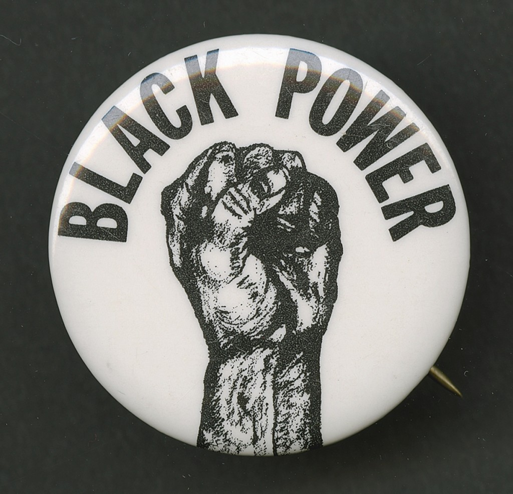 "Pinback button promoting ""Black Power,"" 1966-1975. Metal, 1½-inch diameter. Collection of the Smithsonian National Museum of African American History and Culture."