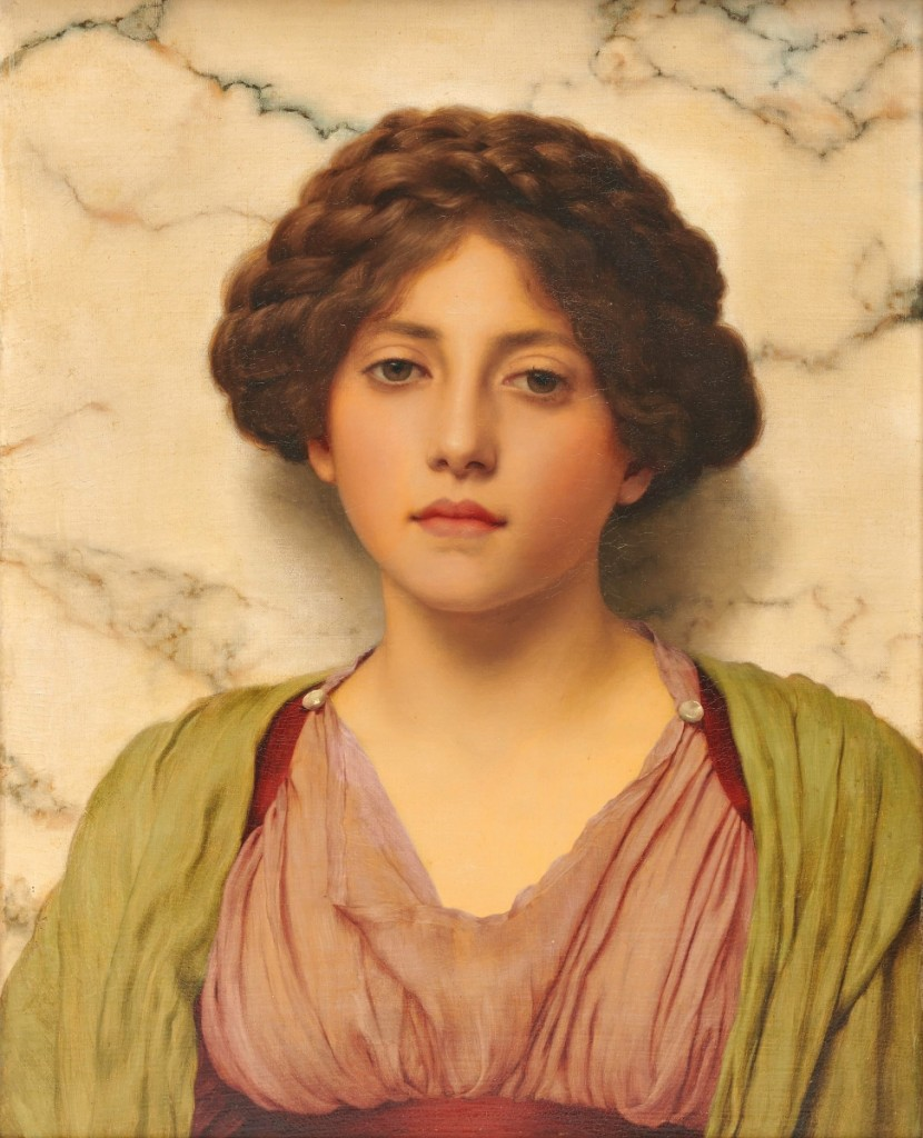 """The catalog described this portrait of an unknown sitter by John William Godward (1861-1922), which finished at $109,375, """"This stunningly alive beauty engages the viewer in an intimate yet virginal way. Her deep chestnut braided hair contrasts vividly against the white veined marble and rich colors of her clothing."""""""