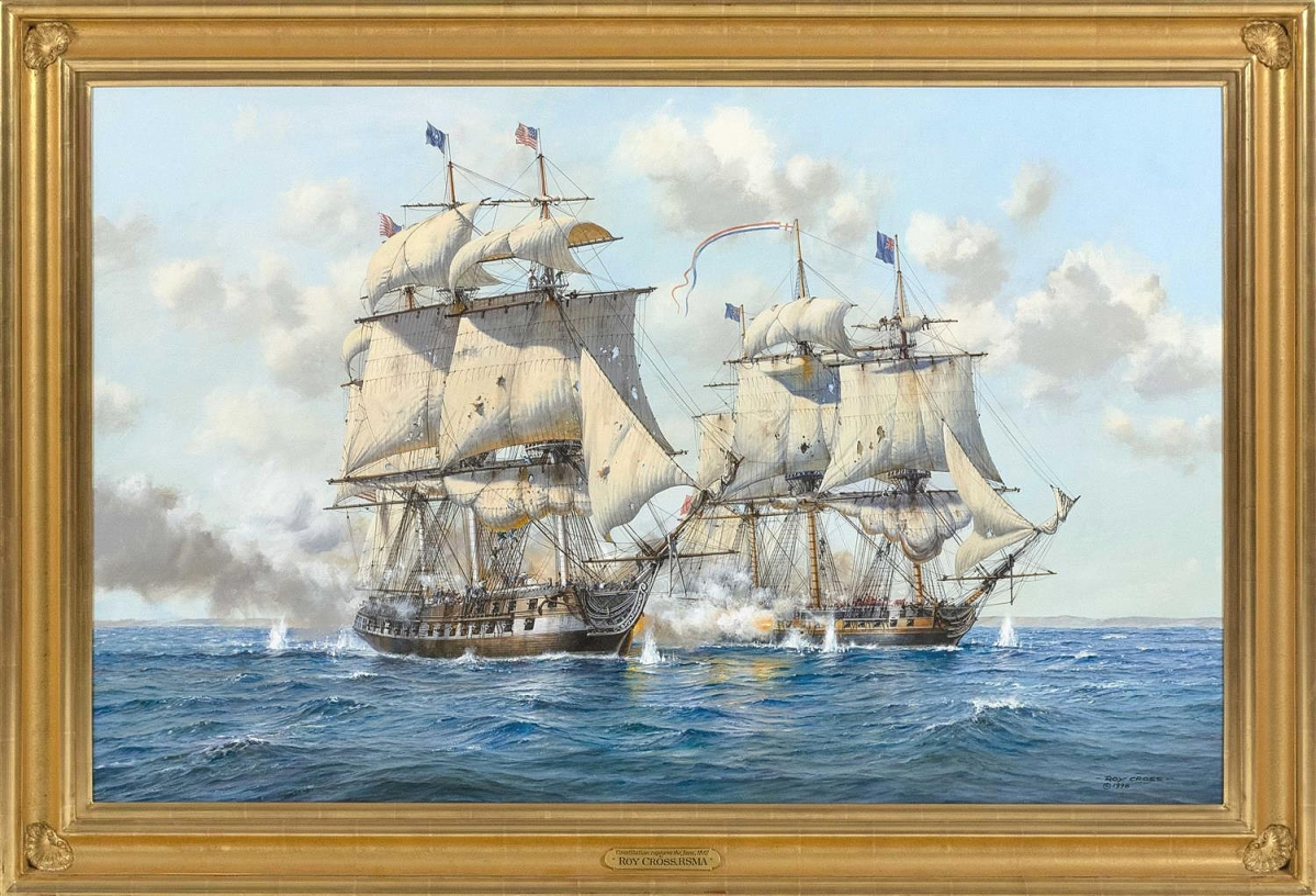 "The first day of the sale was led by this painting by Roy Cross (English, b 1924) documenting ""Constitution Captures Java, 1812."" The oil on canvas with frame, 37 by 59 inches, realized $40,625."