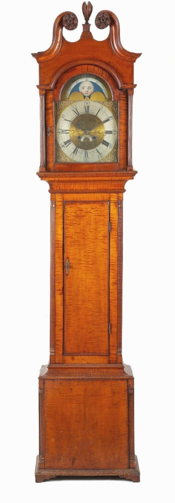 """Described by James Pook as """"a very nice clock,"""" this circa 1790 Pennsylvania Chippendale tiger maple tall case clock had a brass dial inscribed """"Solomon Parke Newtown, Bucks County."""" A private collector from Pennsylvania prevailed against other private collectors to take it for $21,960."""