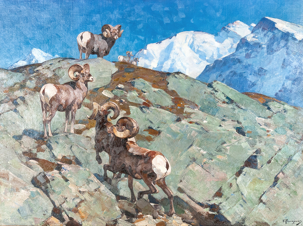 """This painting by Carl Clemens Moritz Rungius (1869-1959), """"Alarmed (Big Horn Rocky Mountain Sheep)"""" climbed to $372,000."""