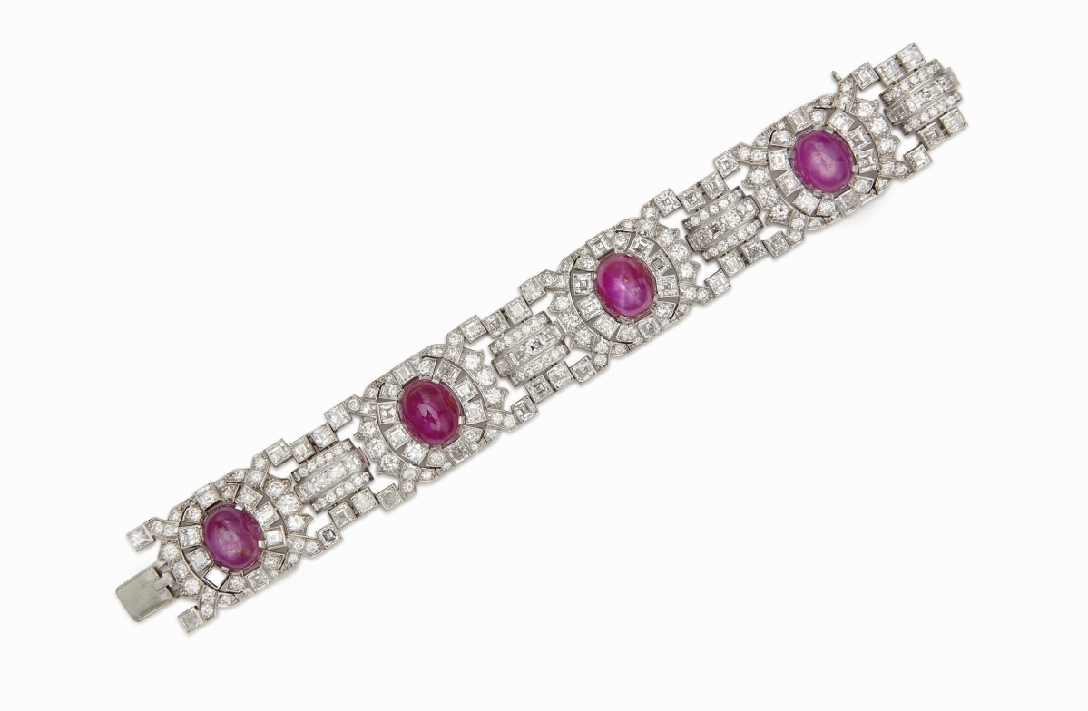 Also selling for well over the high estimate was a platinum, diamond and ruby bracelet, which sold for $71,875.