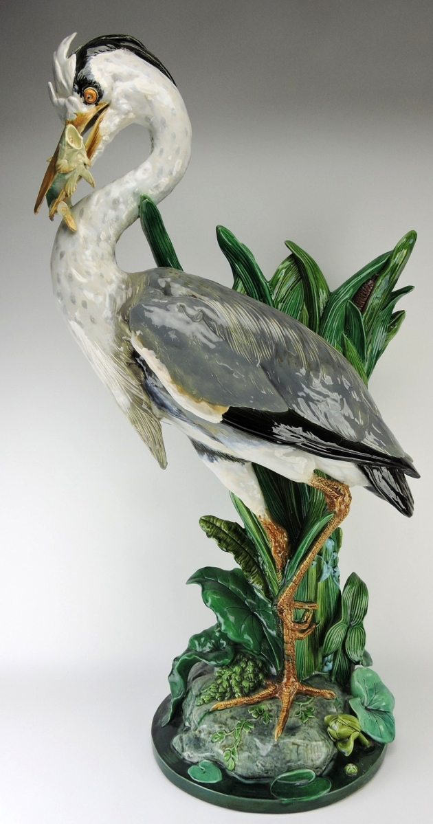 Won for $9,350, this Minton majolica heron walking stick stand stood 39½ inches high.