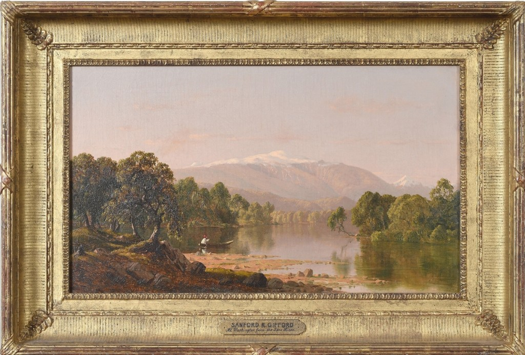"""""""Mt Washington from the Saco River"""" by Sanford Robinson Gifford, 1856, oil on canvas."""