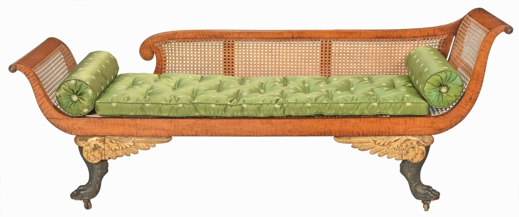 Grecian sofa, New York, 1815-20, tiger maple with gilt and verd antique decoration.