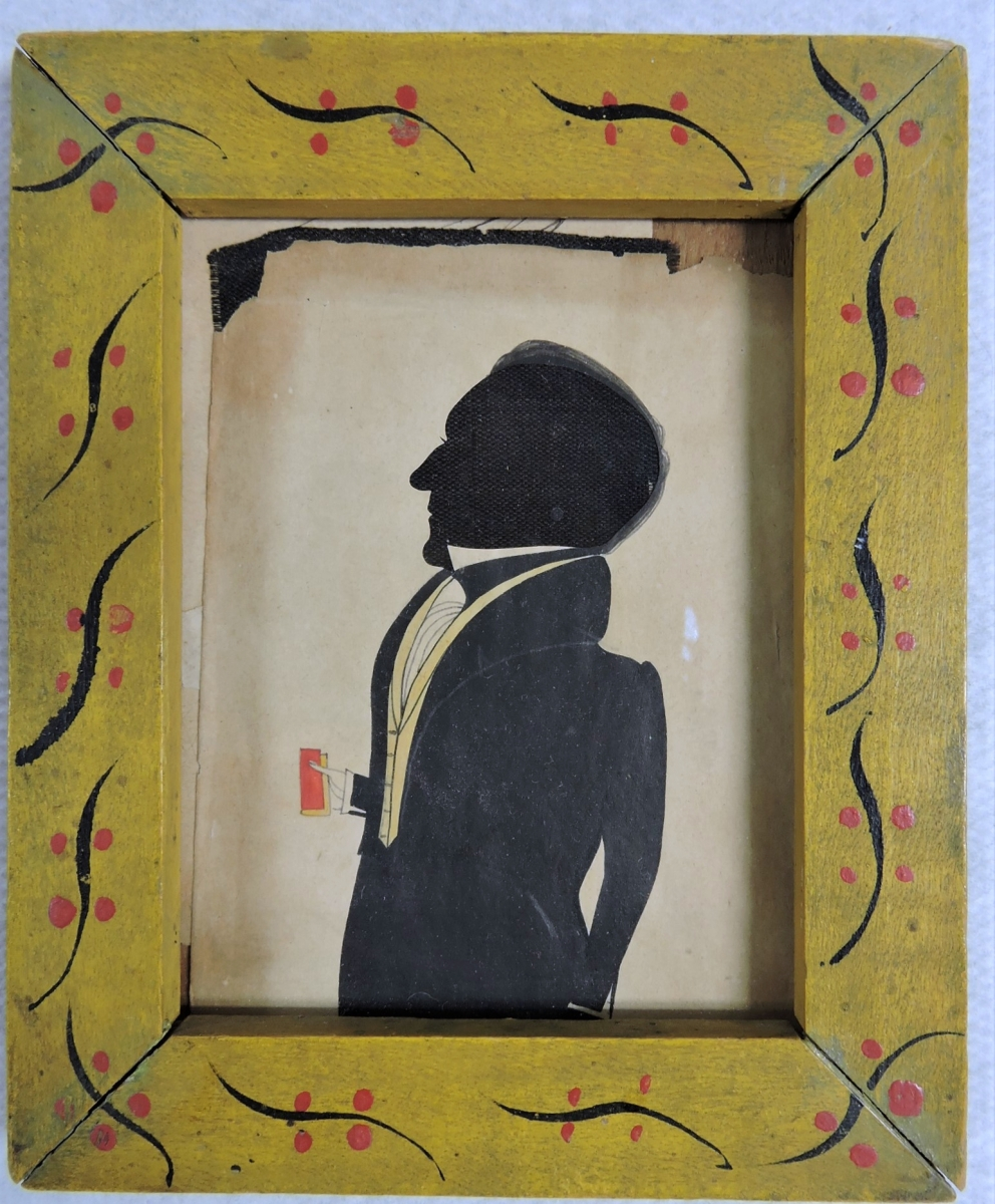 The top lot on day one was this watercolor silhouette portrait of a young gentleman, circa 1830, that sold for $6,500, ten times its high estimate. A surprise bonus was an extra lady silhouette found folded behind the gentleman.