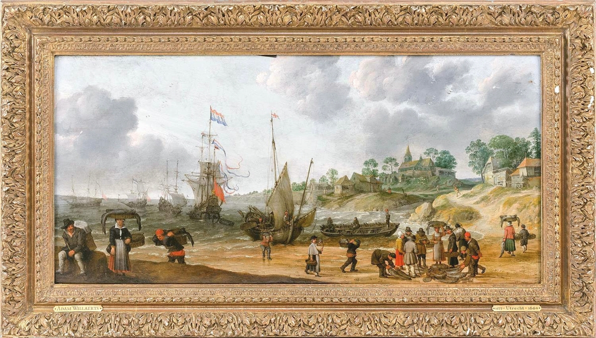 A Continental painting in the manner of Adam Willaerts depicted a busy Dutch shore scene and garnered $33,750.