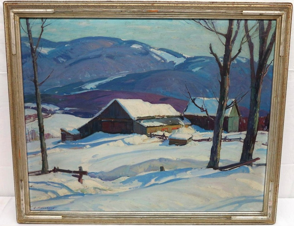 Topping offerings of fine art was this oil on canvas winter landscape by Aldro Thompson Hibbard (American, 1886-1972), which closed at $3,813. It measured 28 by 33 inches.