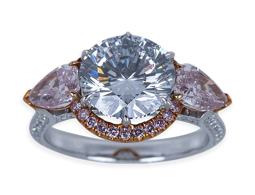 An 18K gold, platinum and fancy natural gray-blue and pink diamond ring from a Carmel, Calif., estate was bid to $300,000.