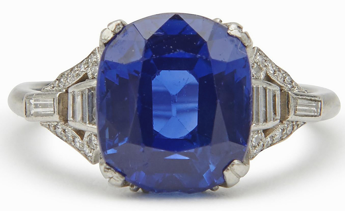 The star of the sale was a platinum Kashmir sapphire ring, set with diamonds. GIA and AGL certifications stated that the sapphire, 4.81 carats, originated in Kashmir and showed no evidence of heating. It realized $237,500.