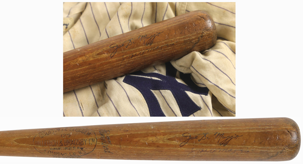 A Joe DiMaggio 1949 Yankees game-used bat fetched $157,000. The Hillerich & Bradsby model D29L professional model bat was uncracked and showed evidence of outstanding use, including possible World Series use.