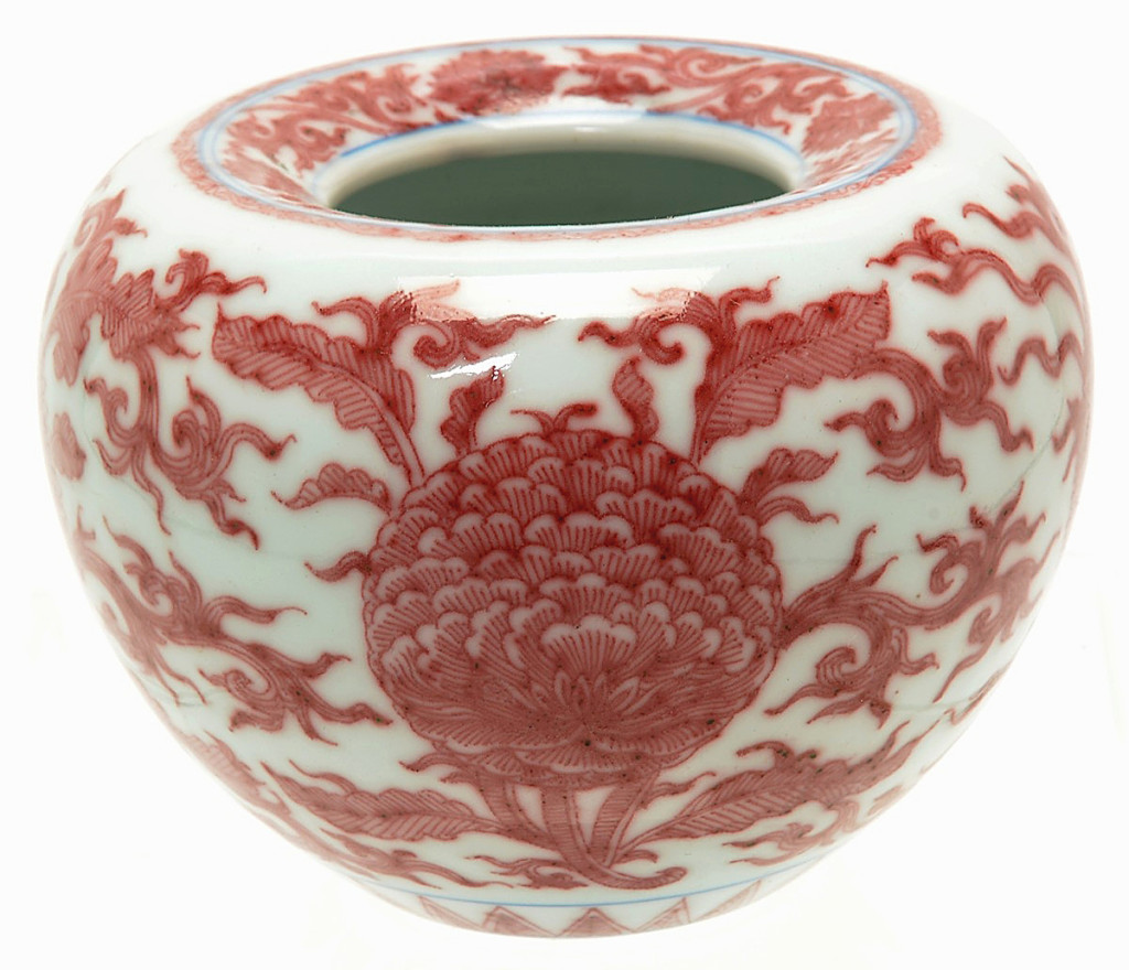 Rare Chinese copper-red apple-shaped water coupe, Pingguozun, was the top lot at $324,000.