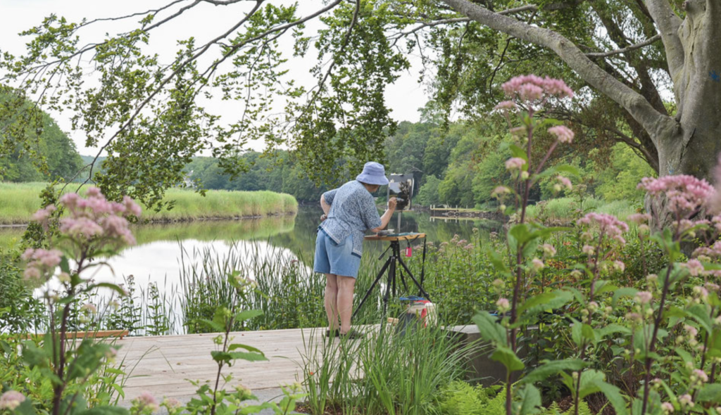 The River Walk, one of four marked path comprising Florence Griswold Museum's Artists' Trail, leads visitors along the Lieutenant River, where American Impressionist painters set up their easels. Photo Ian Dobbins, courtesy Florence Griswold Museum.