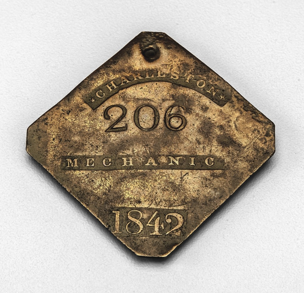 Dr Torren Gatson of the University of North Carolina at Greensboro will talk about this slave badge in MESDA's collection as part of the Salem Presents lecture series. The badge was the subject of Dr Gatson's 2015 MESDA Summer Institute research. Slave Badge, 1842, Charleston, S.C. Museum of Early Southern Decorative Arts at Old Salem Museums and Gardens.