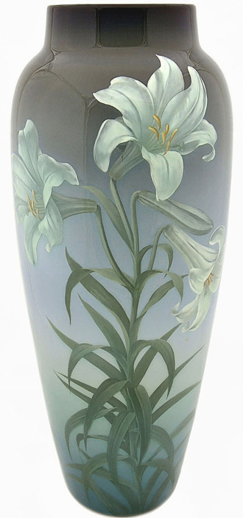 One of the sale's top lots was found in this Rookwood Iris glaze vase with white Easter Lilies that sold for $25,830. It was painted by Carl Schmidt in 1910 and was found on Riley Humler's first appearance on the Antiques Roadshow in 1997. A gentleman pulled it from a beer cooler. It measures 20 inches high.