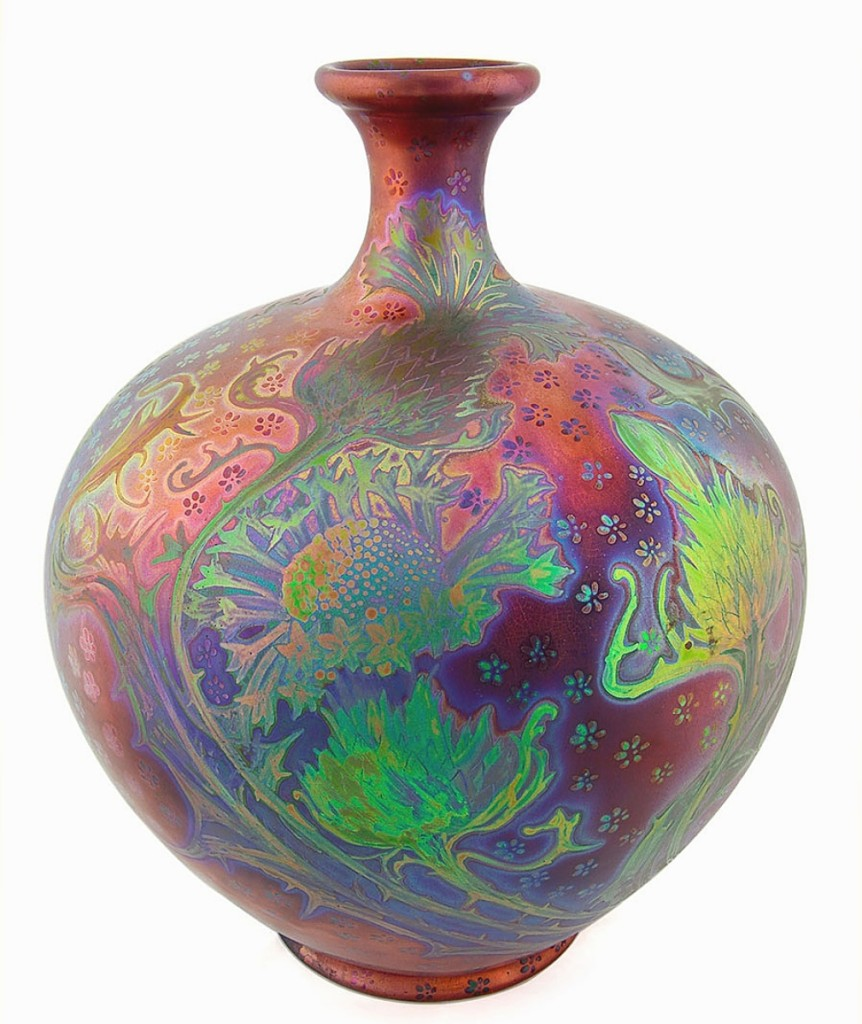 Featuring iridescent highlights was this Weller Siccard vase, 15 inches tall, that took $8,555.