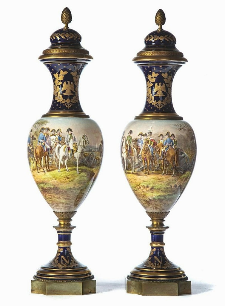 "Leading the sale was this pair of late Nineteenth Century Sevres urns, signed by the artist, ""H.Desprez,"" and marked under the lids ""M. Impl de Sevres,"" which received 24 bid increments and sold to an online bidder in the United States for $4,687 ($3/5,000)."
