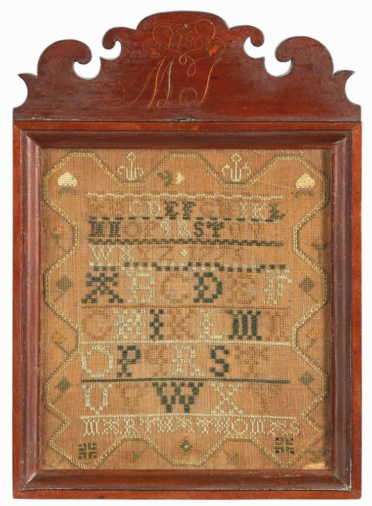 """""""You are not going to get another chance to get one of these,"""" James Pook said about the top lot, this Chester County, Penn., sampler wrought in 1775 by Martha Thomas. A private collector on the phone prevailed against bidders in the room and online to take it for $51,240 ($ ,000)."""