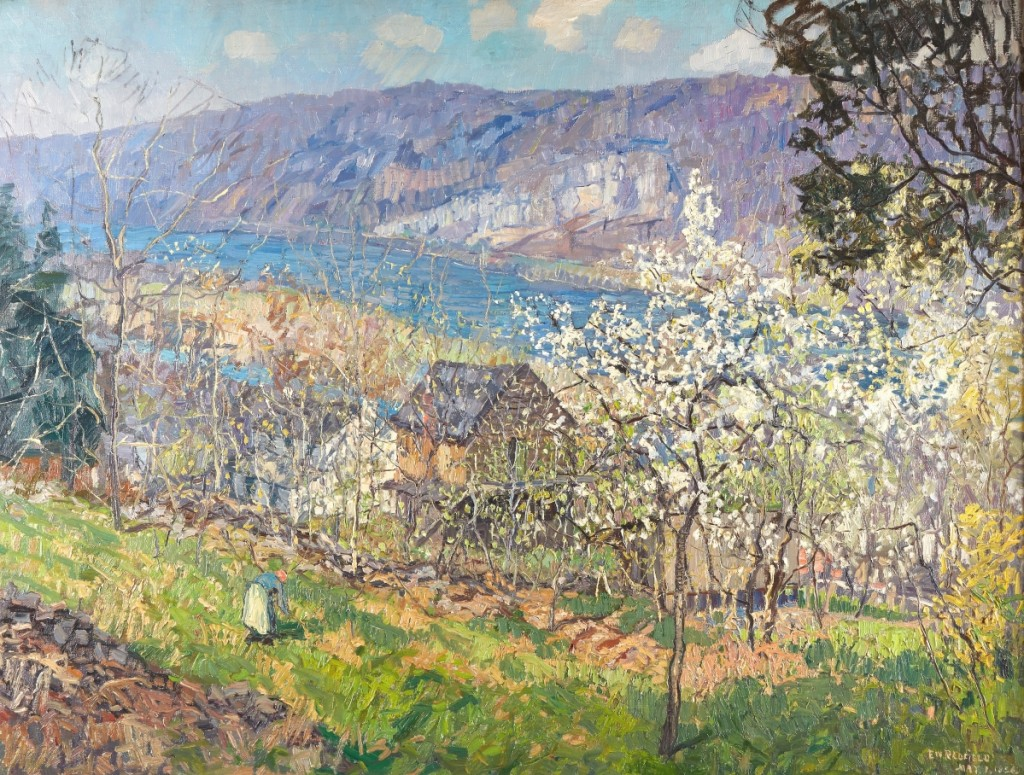 """Six phone bidders competed for the sale's top lot, """"Spring at Point Pleasant on the Delaware River"""" by Edward Willis Redfield, 1926, oil on canvas, 38 by 50 inches. It sold to a private collector, who had never bought at Freeman's before, for $483,000 ($300/500,000)."""