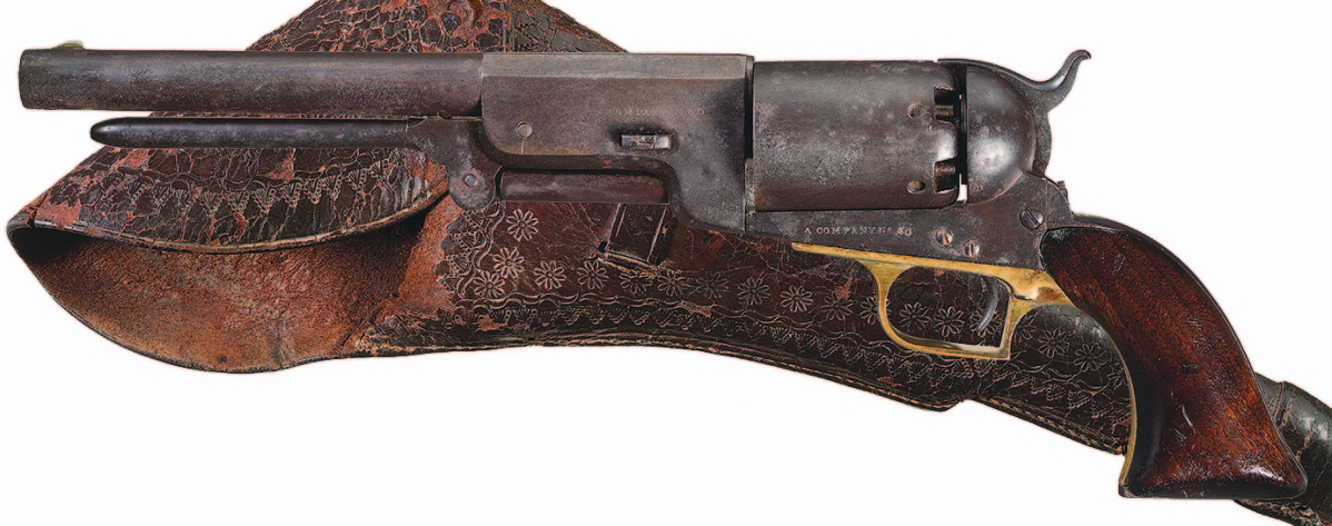 """This historic, Texas """"National Treasure"""" — a company No. 50 Colt Walker percussion revolver with holster documented as passed down through multiple generations of the celebrated Darst family of Texas — went out at $431,250."""