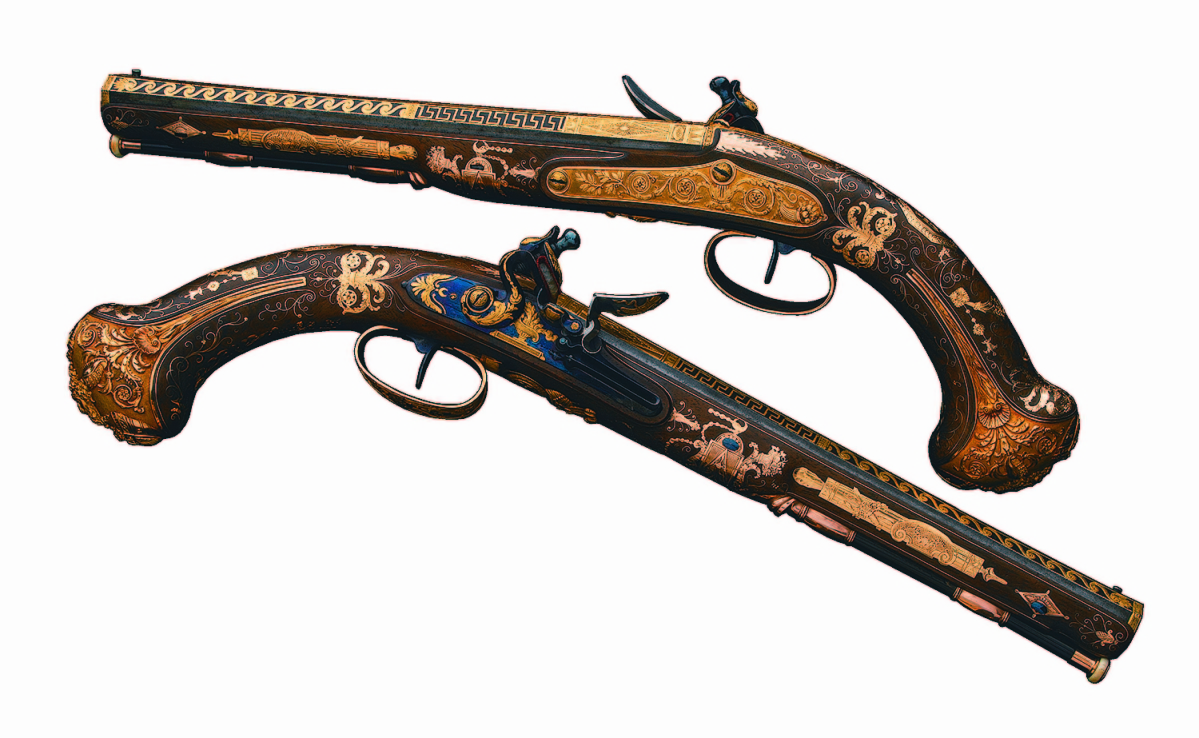 A pair of gold-mounted Nicolas-Noel Boutet French Empire Officer's flintlock pistols presented to Contre-Amiral Cesar-Joseph Bourayne, Baron de l'Empire, melded high-art and craftsmanship to finish at $575,000.