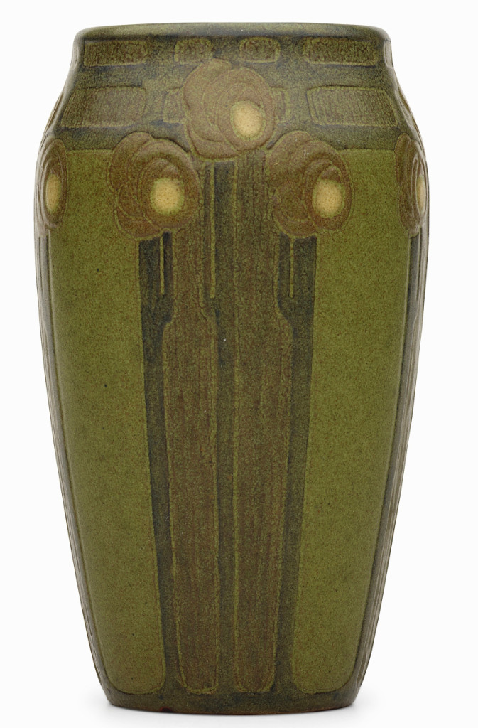 Top lot in the sale was this rare Marblehead vase, circa 1910, selling for $150,000 against an expectation of $25/35,000. Crafted by Arthur Hennessey and Sarah Tutt for Marblehead Pottery, the glazed earthenware piece, 6¾ inches high by 4 inches in diameter, is one of very few known examples of this form, one of which is in the permanent collection of the Newark Museum, Trenton, N.J. Rago said the price was a record for the form.